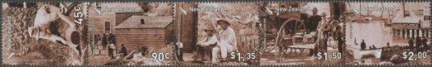 New Zealand Stamp Reward 2006 Gold Rush strip of 5